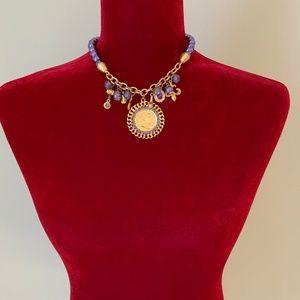 French Chic Fleur De Lis Charm Necklace Beaded